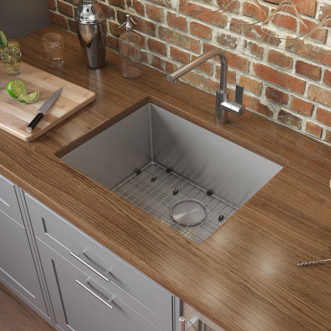 26 Inch Undermount 16 Gauge Tight Radius Stainless Steel Kitchen Sink Single Bowl Ruvati Usa