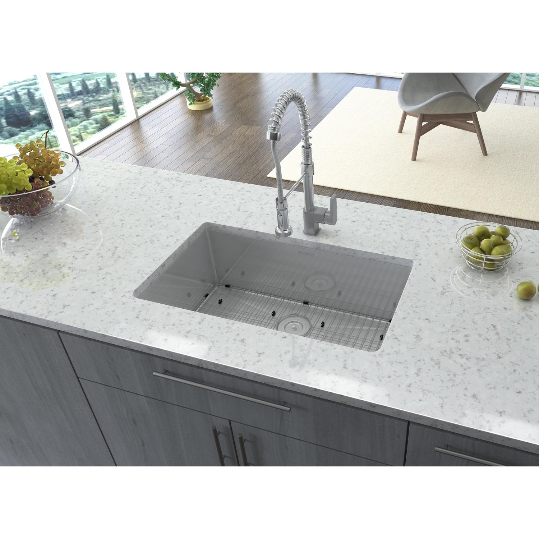 28 Inch Undermount 16 Gauge Tight Radius Stainless Steel Kitchen Sink Single Bowl Ruvati Usa