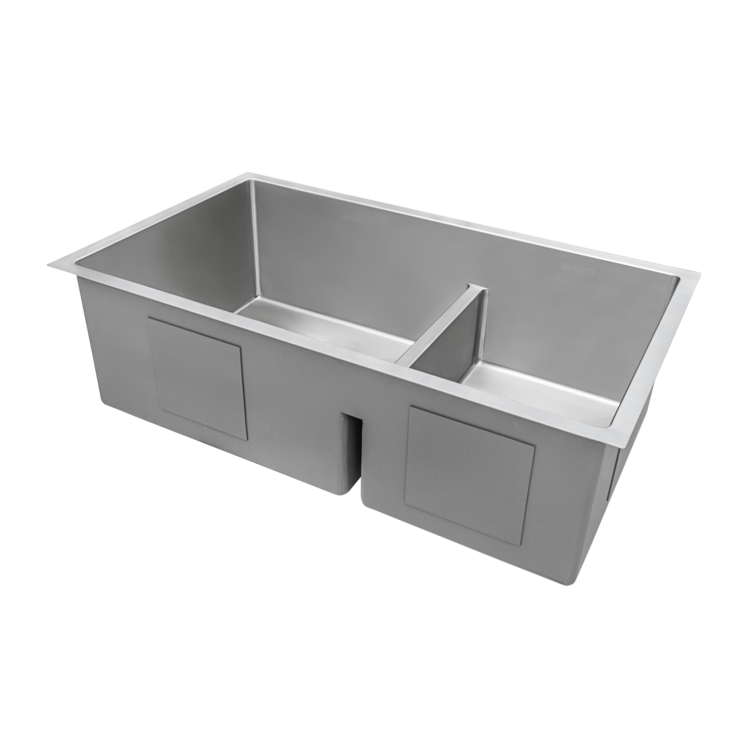 33 Inch Low Divide Undermount Tight Radius 60 40 Double Bowl 16 Gauge Stainless Steel Kitchen Sink Ruvati Usa