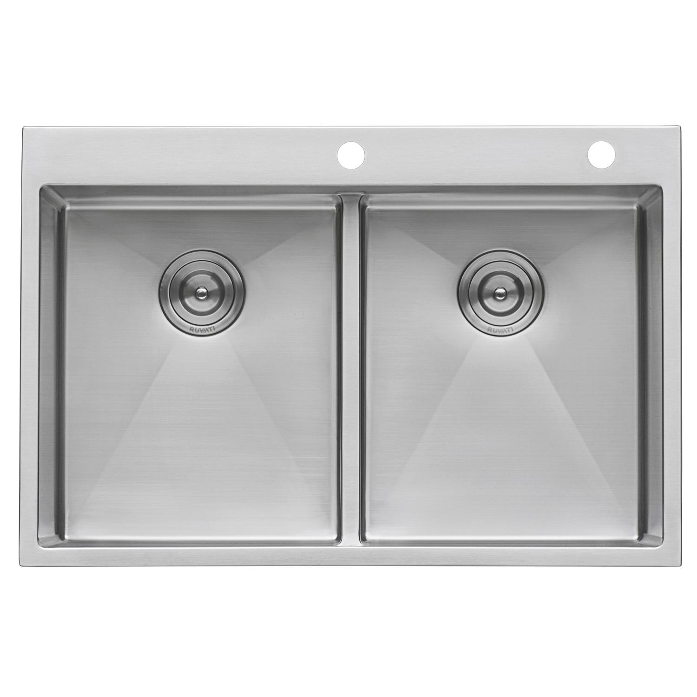 33 X 22 Inch Drop In 50 50 Double Bowl Tight Radius 16 Gauge Topmount Stainless Steel Kitchen Sink Ruvati Usa