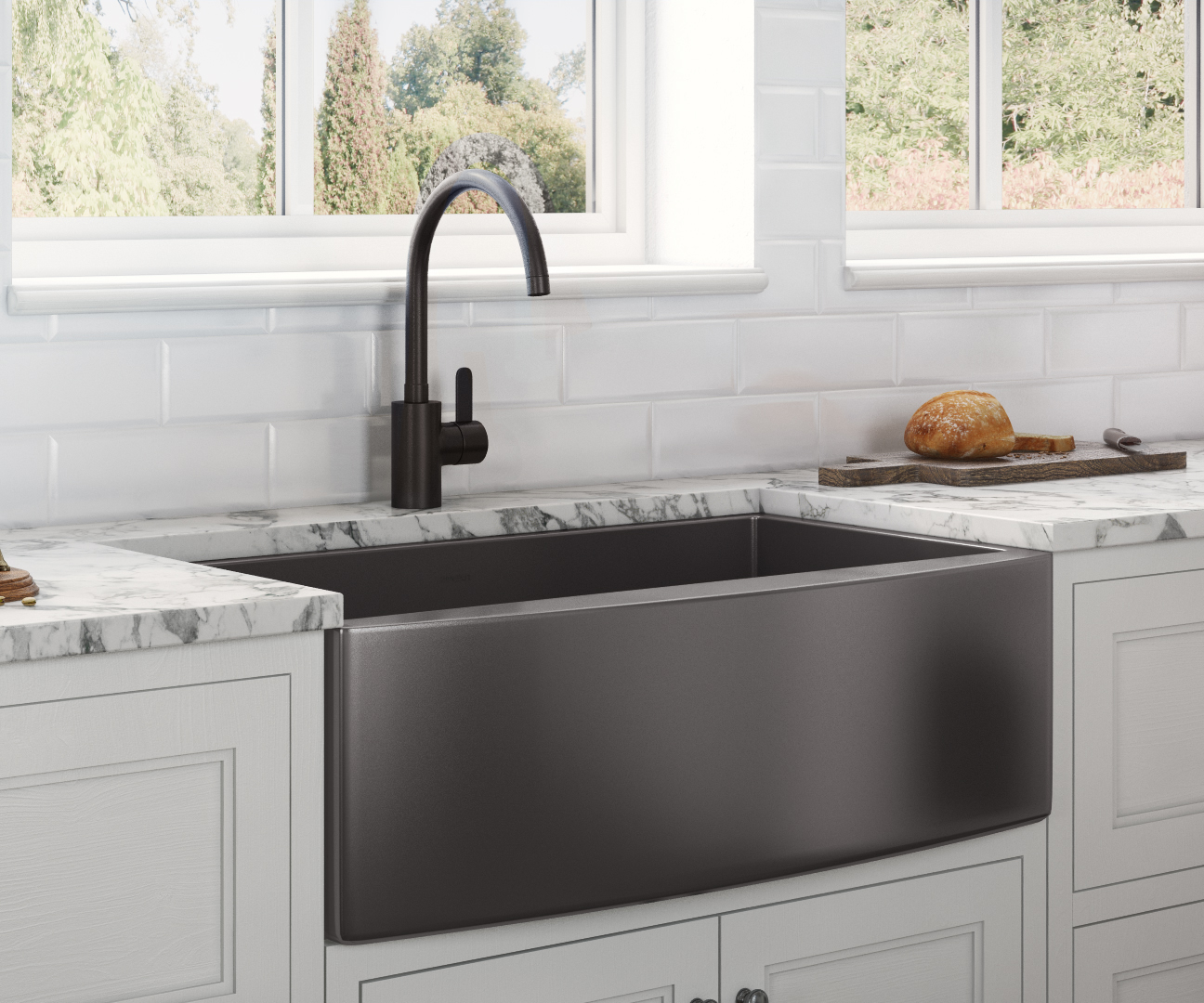 33-inch Apron-Front Farmhouse Kitchen Sink - Gunmetal ...