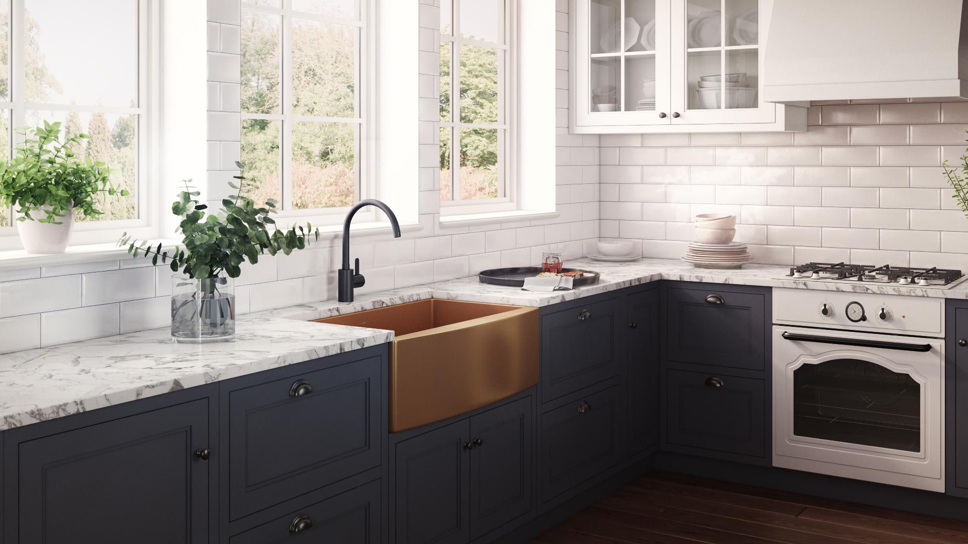 33 Inch Apron Front Farmhouse Kitchen Sink Copper Tone Matte Bronze Stainless Steel Single Bowl Ruvati Usa