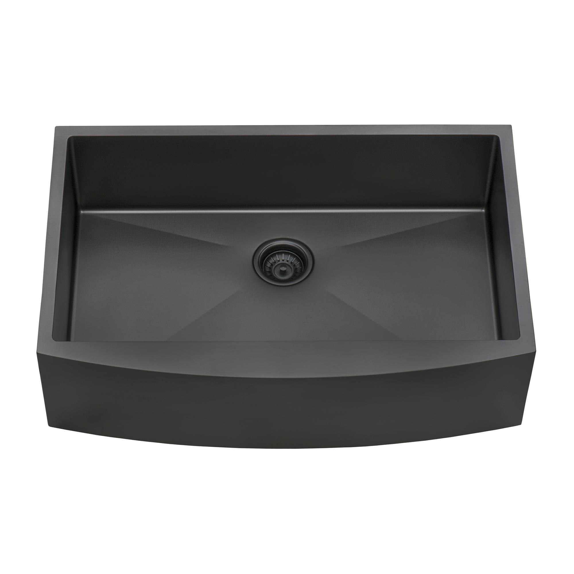 36-inch Apron-Front Farmhouse Kitchen Sink - Gunmetal Black Matte Stainless  Steel Single Bowl