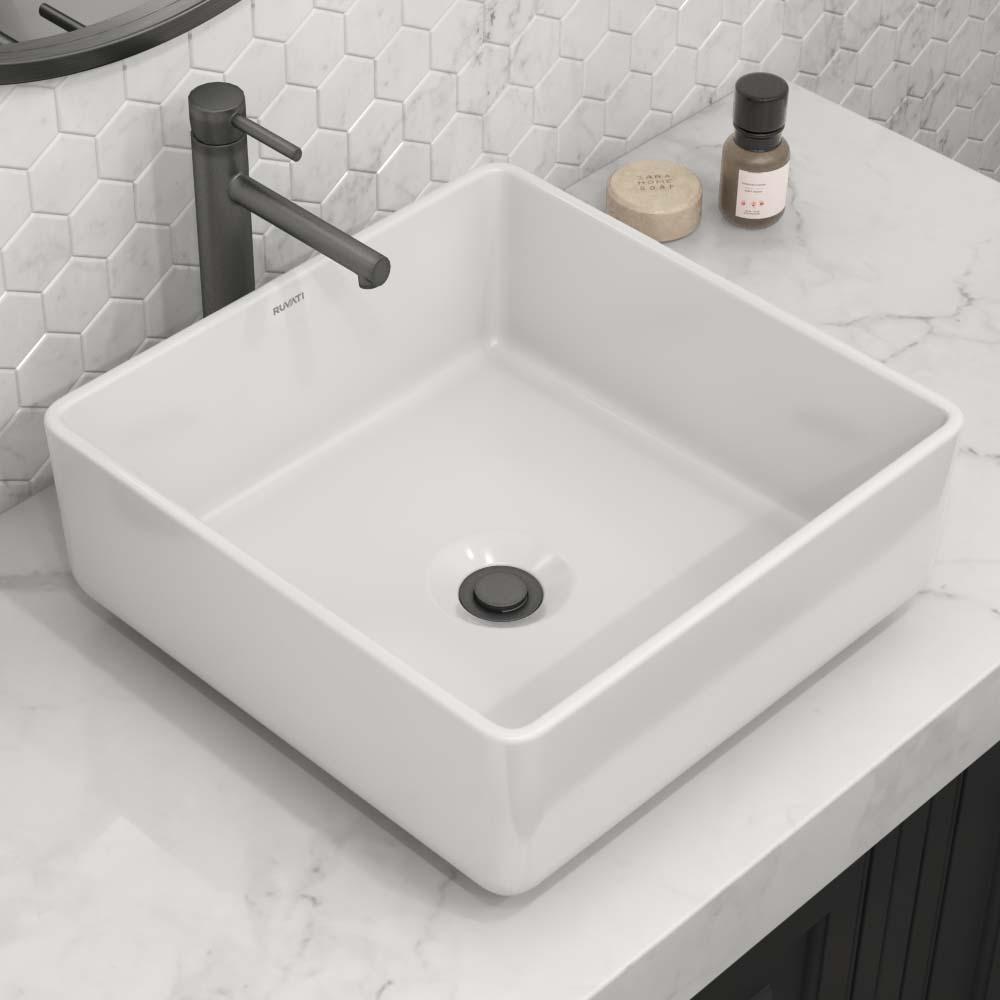 15 X 15 Inch Bathroom Vessel Sink White Square Above Counter Porcelain Ceramic Ruvati Usa