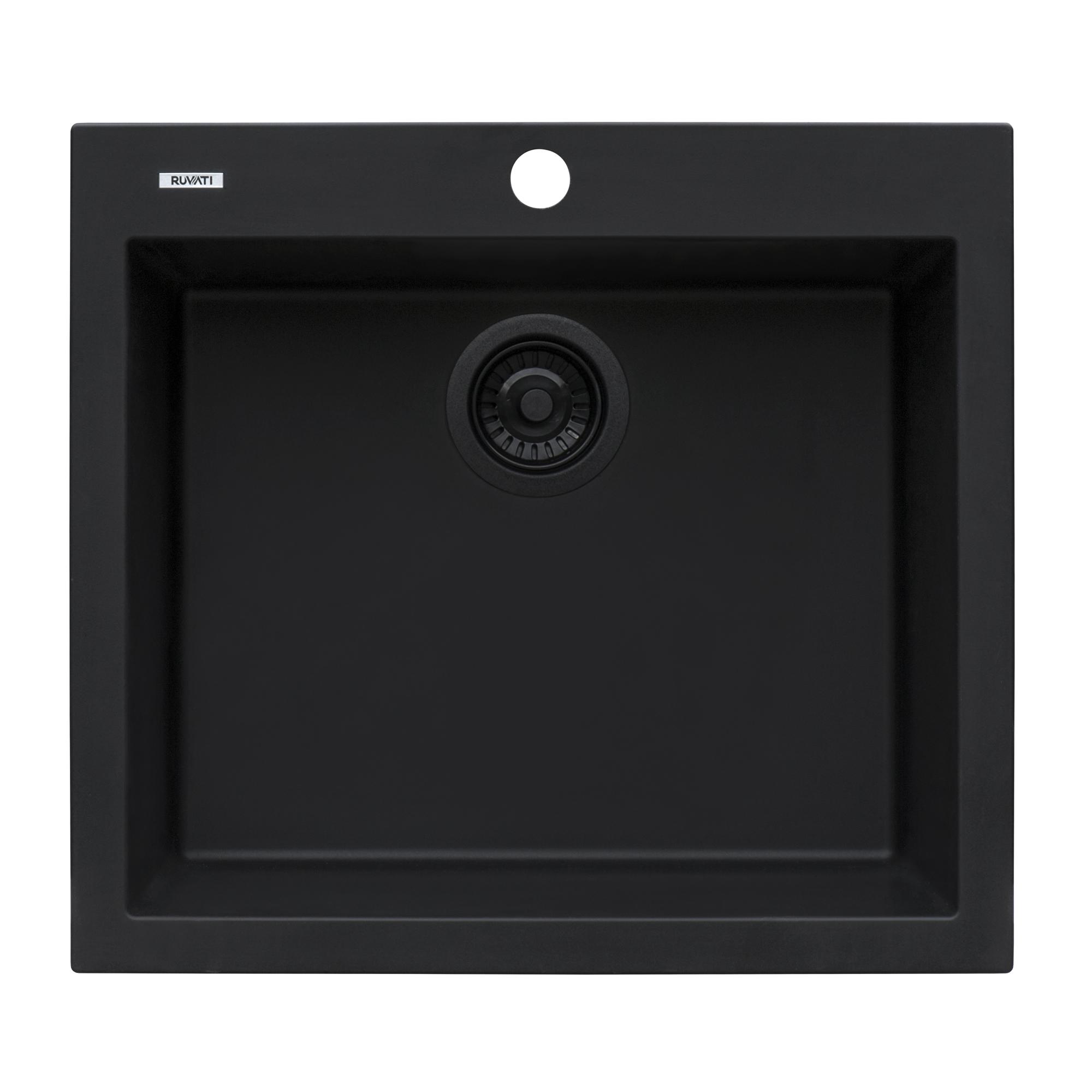 Ruvati 22 X 20 Inch Epigranite Drop In Topmount Granite Composite Single Bowl Kitchen Sink Midnight Black Rvg1022bk Ruvati Usa
