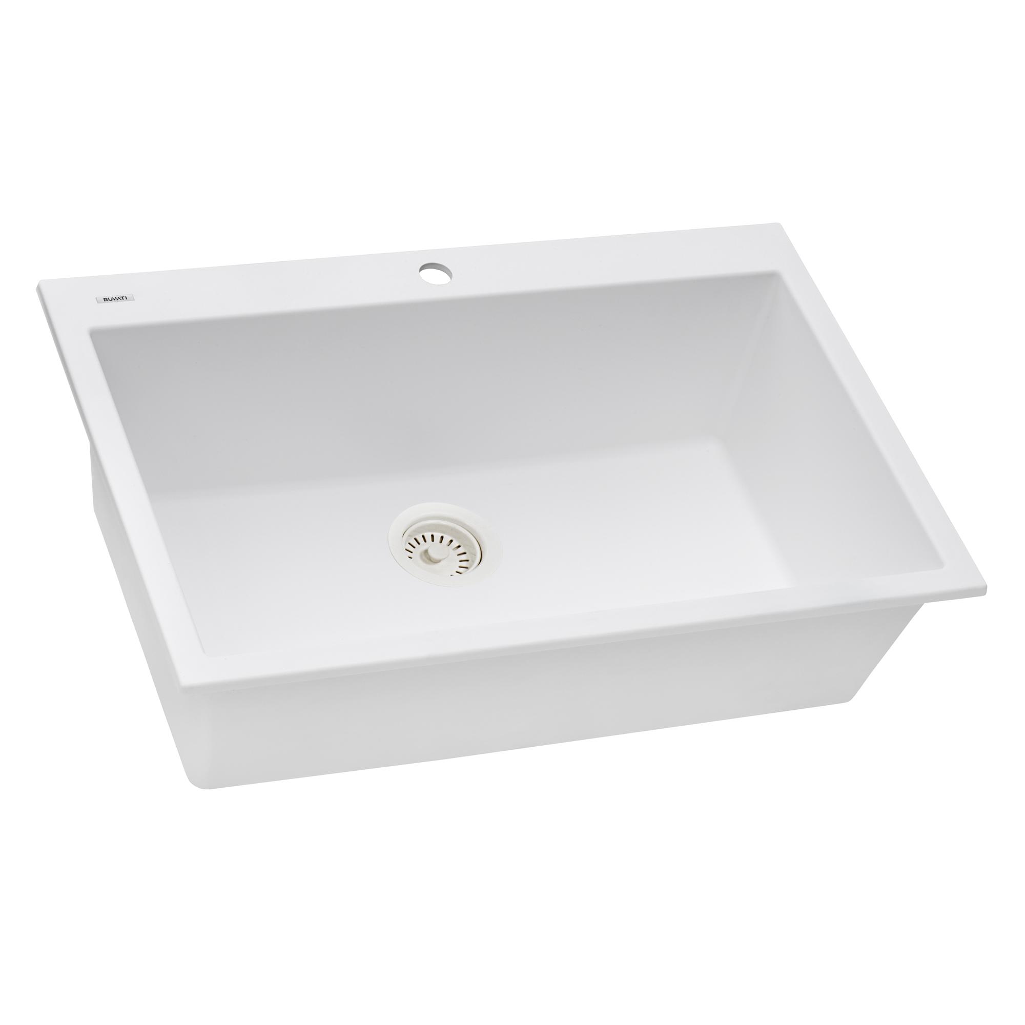 Picture of: Ruvati 30 X 20 Inch Epigranite Drop In Topmount Granite Composite Single Bowl Kitchen Sink Arctic White Rvg1030wh Ruvati Usa