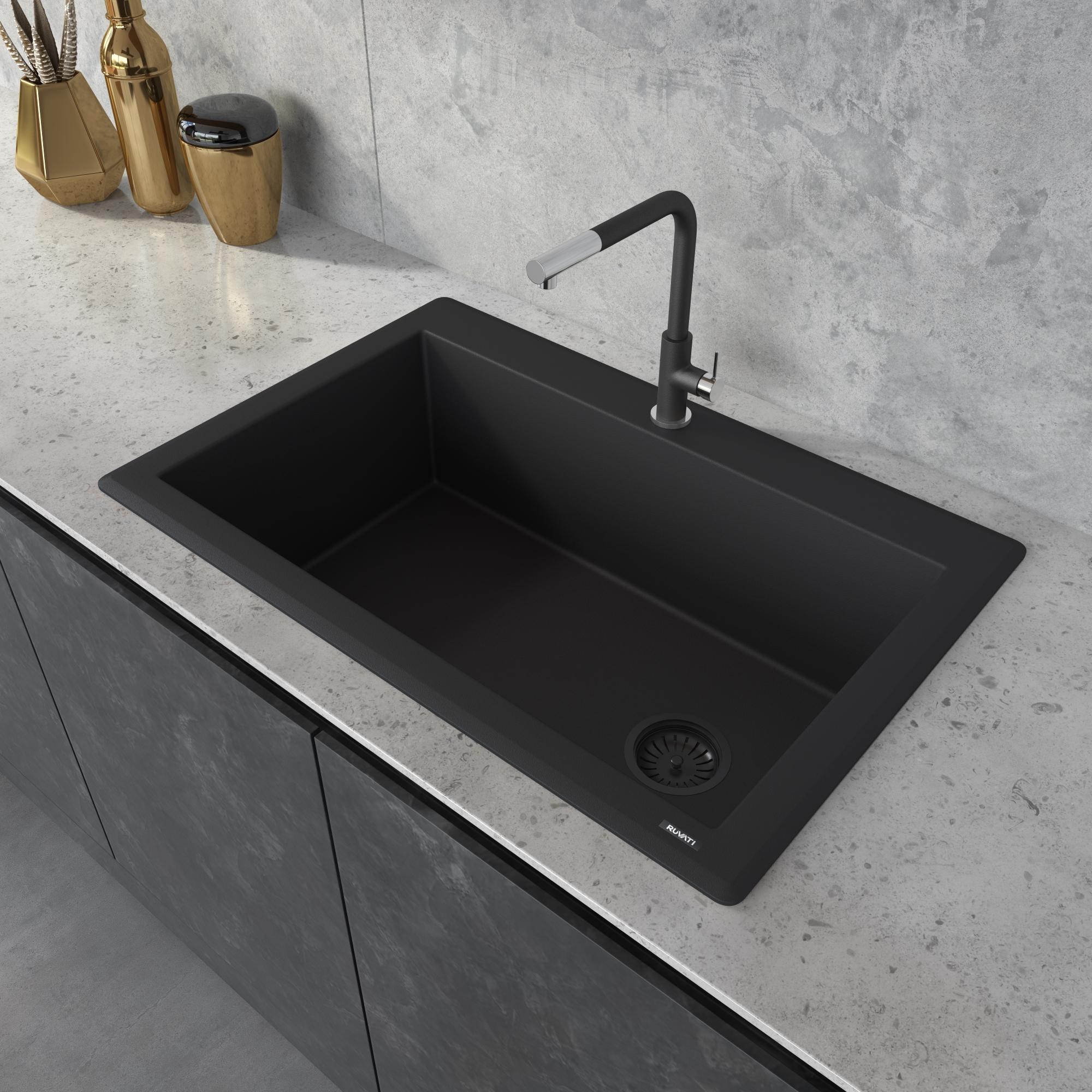 Ruvati 33 X 22 Inch Epigranite Drop In Topmount Granite Composite Single Bowl Kitchen Sink Black Galaxy Rvg1033gx Ruvati Usa