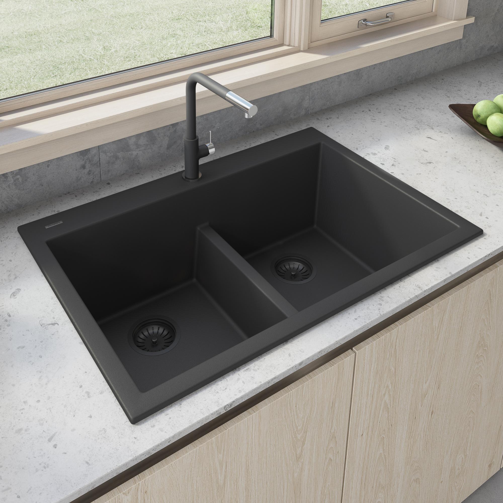 Ruvati 33 X 22 Inch Epigranite Drop In Topmount Granite Composite Double Bowl Low Divide Kitchen Sink Midnight Black Rvg1385bk Ruvati Usa