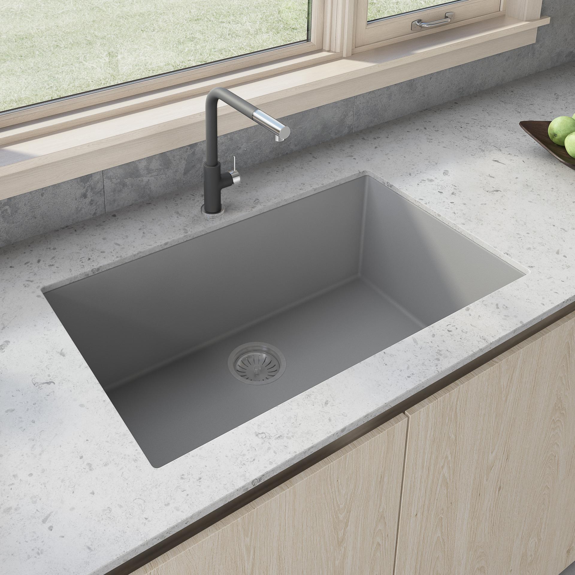 30 X 17 Inch Granite Composite Undermount Single Bowl Kitchen Sink Silver Gray Ruvati Usa