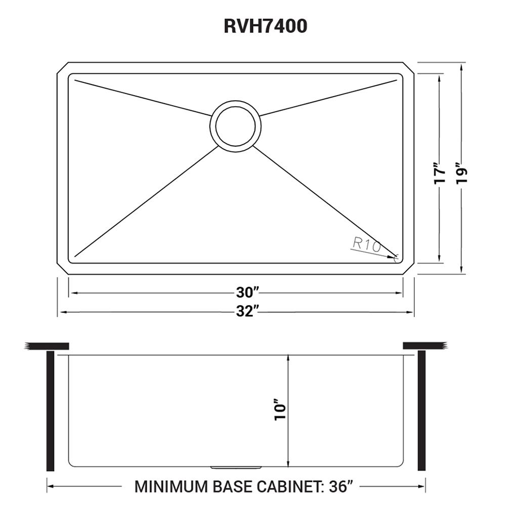 32 Inch Undermount 16 Gauge Tight Radius Kitchen Sink Stainless Steel Single Bowl Ruvati Usa