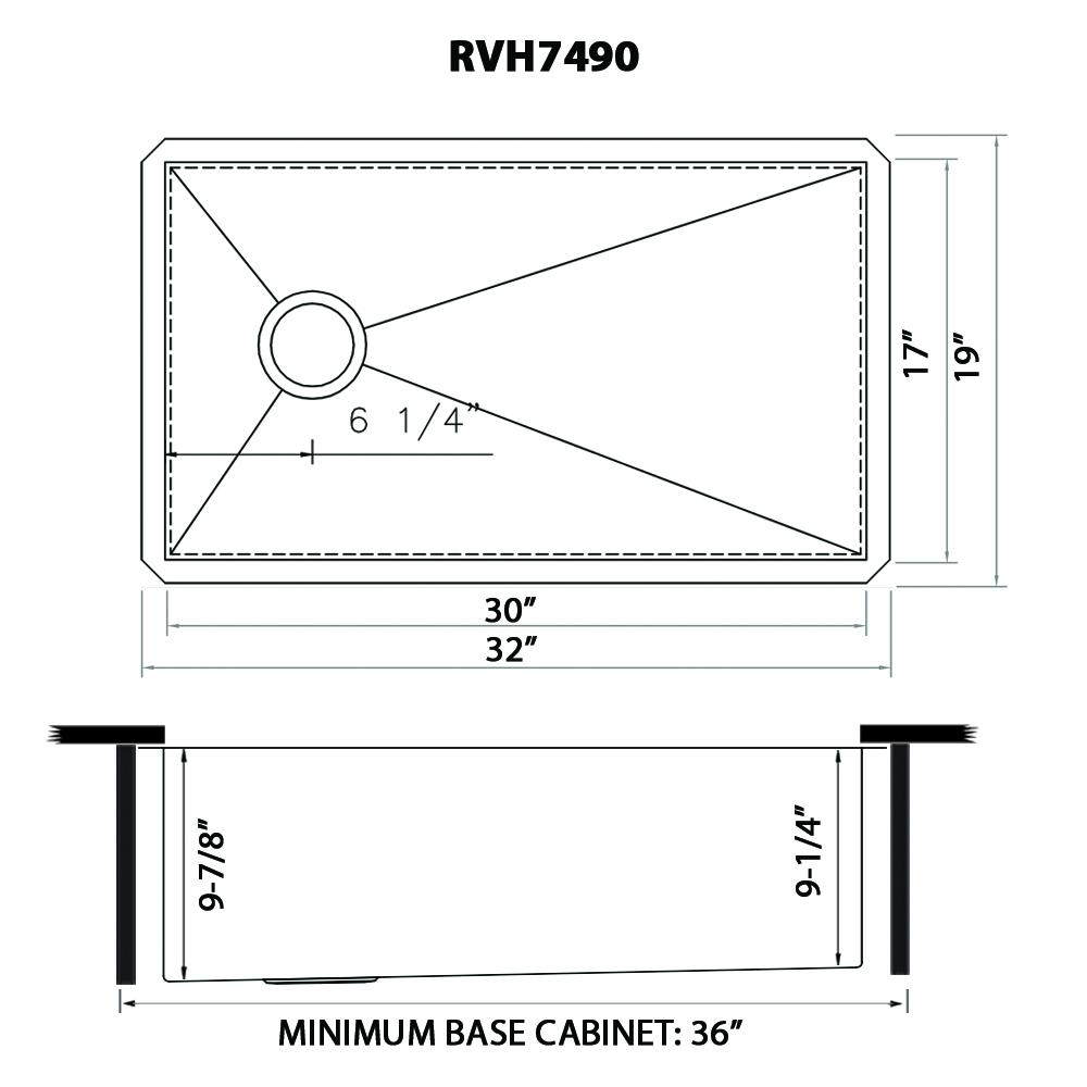 32 Inch Offset Drain Sloped Bottom Undermount Kitchen Sink Single Bowl Stainless Steel Ruvati Usa