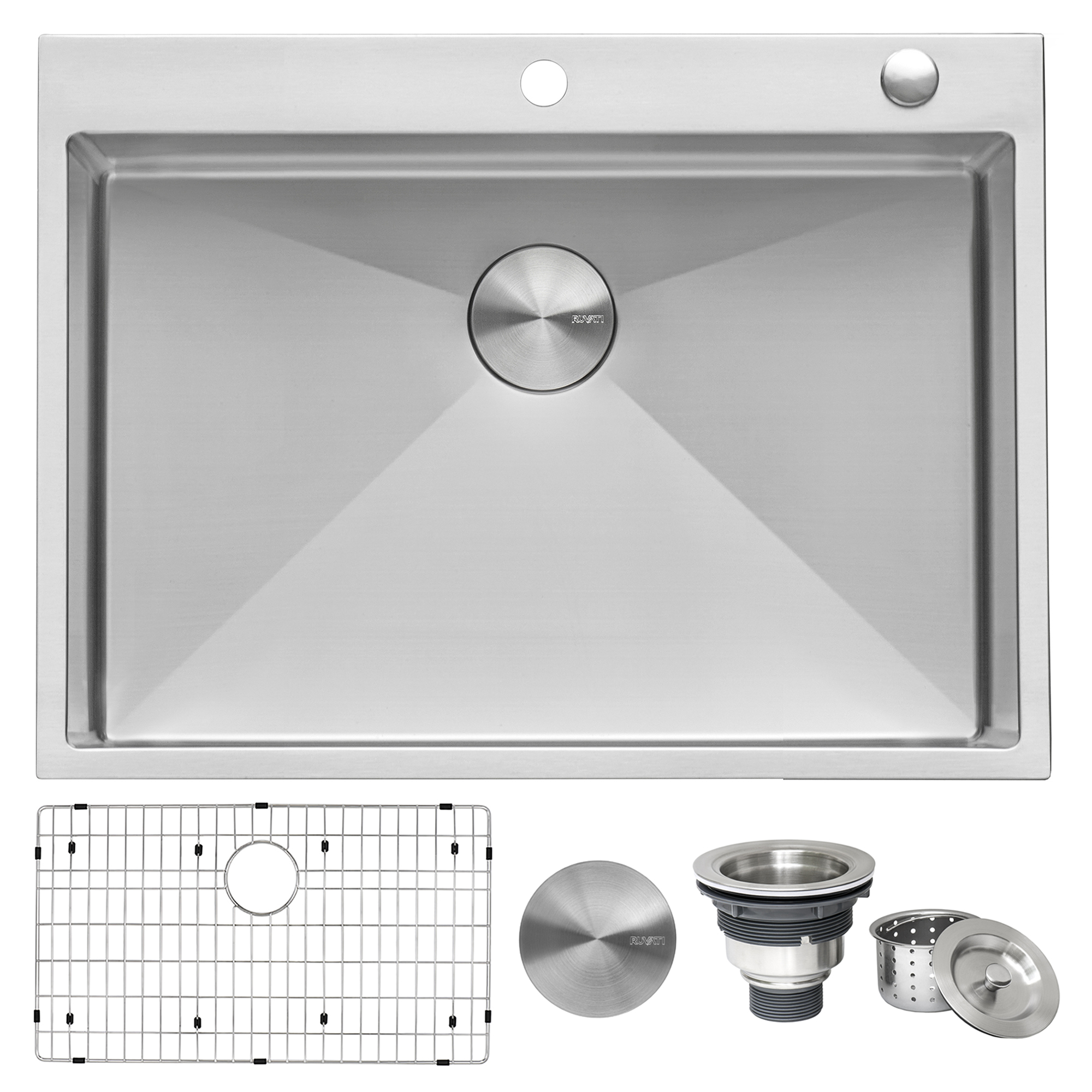 30 X 22 Inch Drop In Tight Radius Topmount 16 Gauge Stainless Steel Kitchen Sink Single Bowl Ruvati Usa