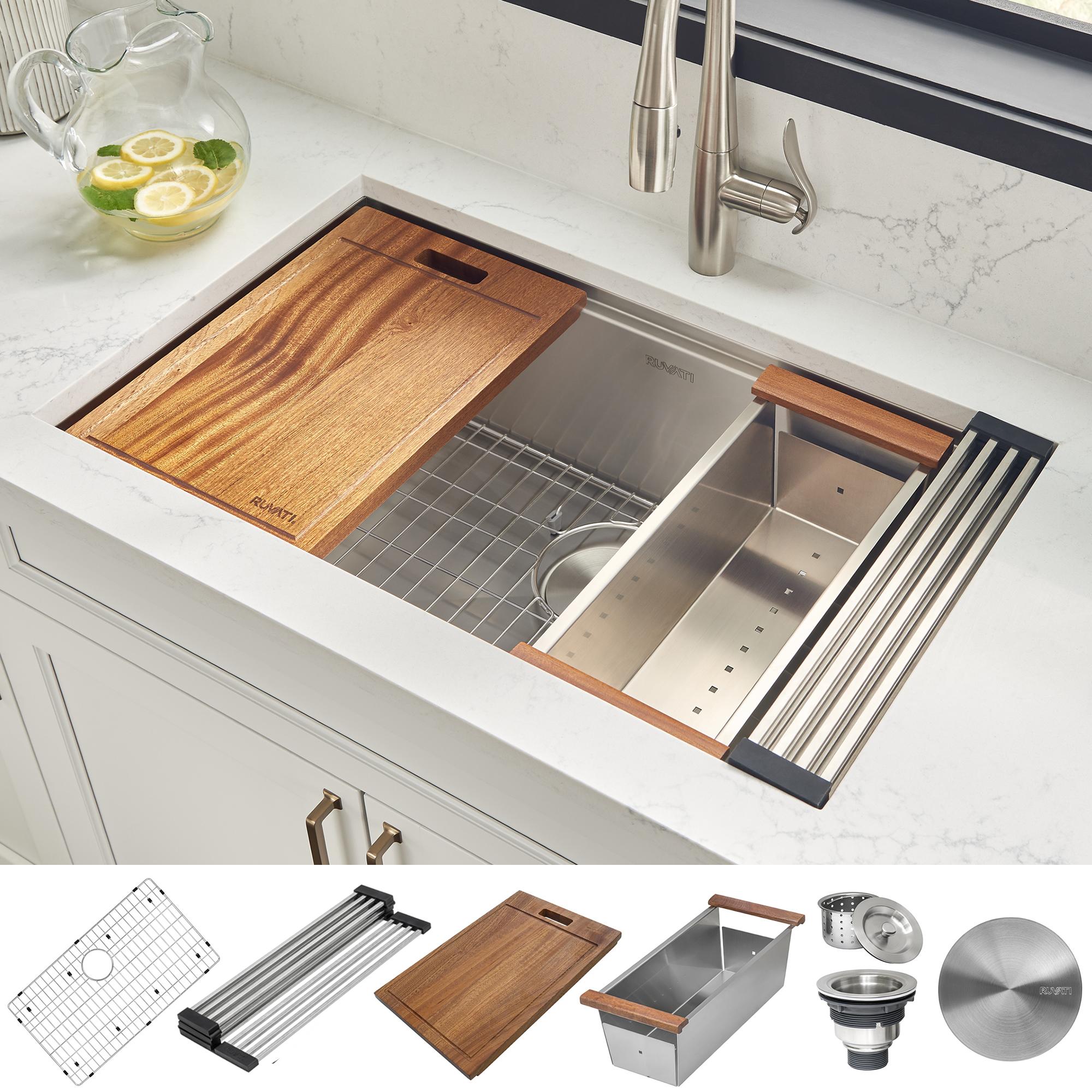 30 Inch Workstation Ledge Undermount 16 Gauge Stainless Steel Kitchen Sink Single Bowl Ruvati Usa