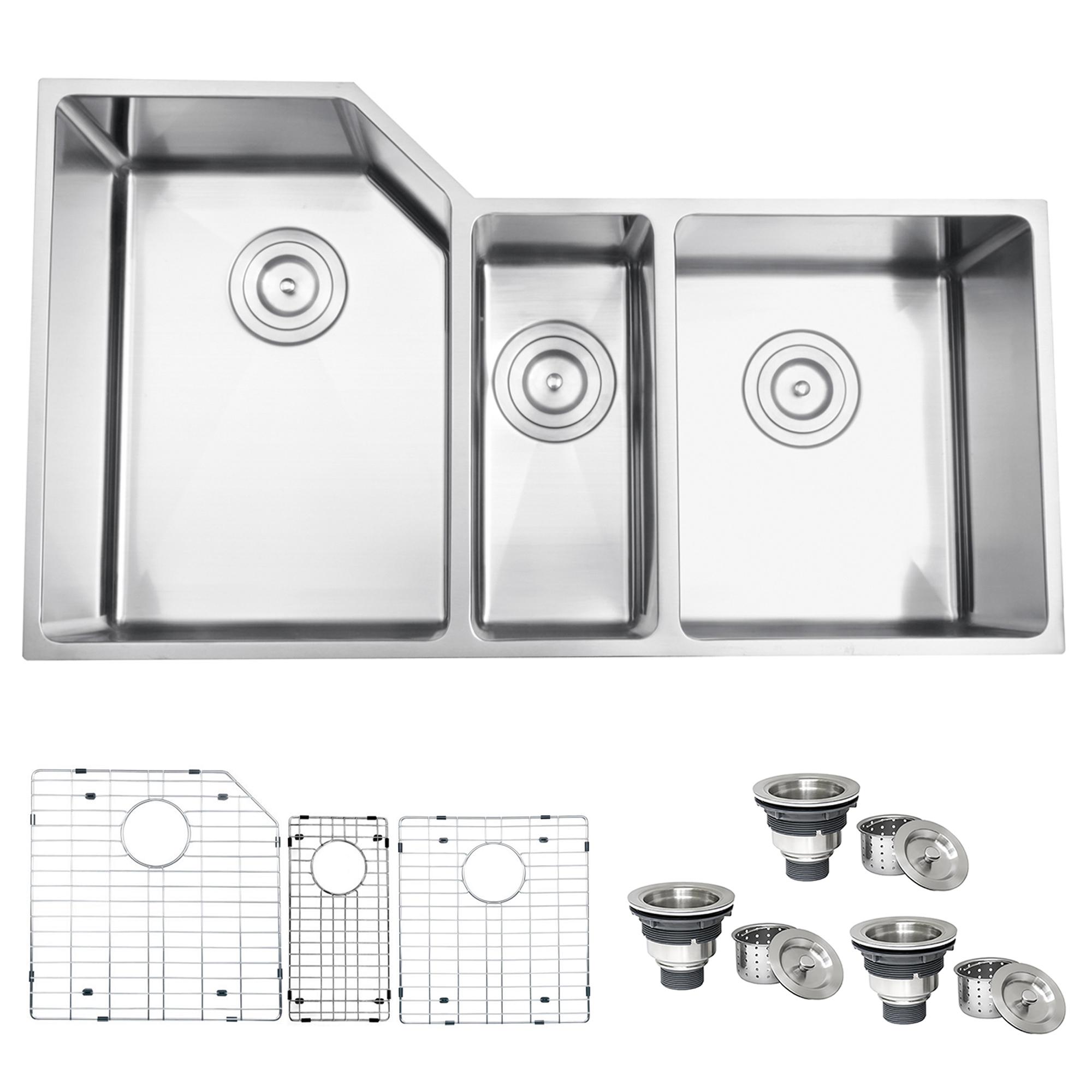 34 Inch Undermount 16 Gauge Kitchen Sink Triple Bowl Ruvati Usa