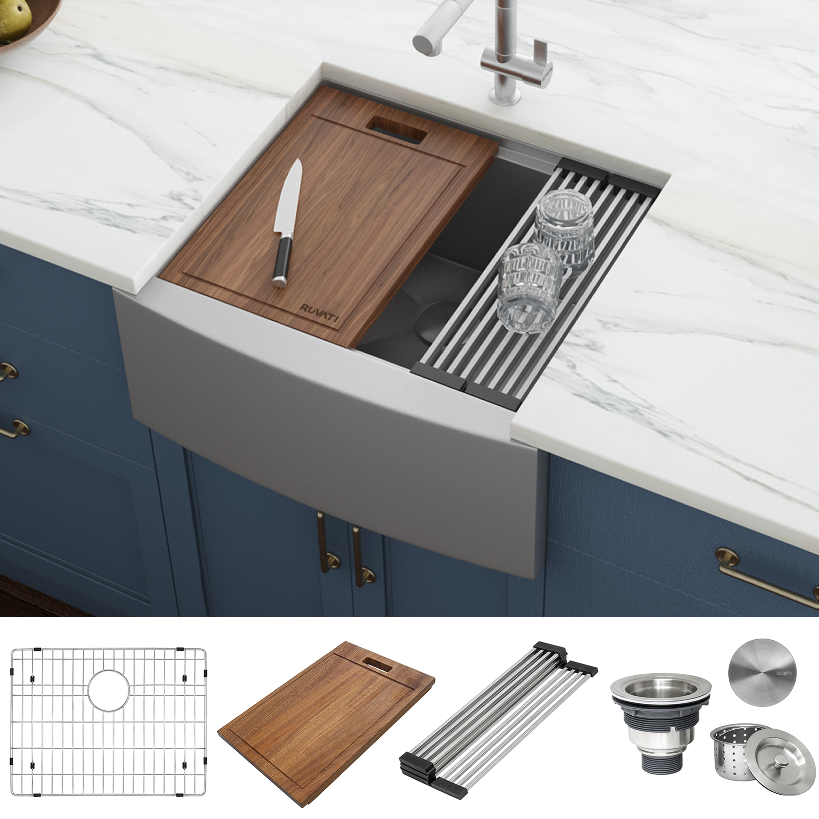 24 Inch Apron Front Workstation Farmhouse Kitchen Sink 16 Gauge Stainless Steel Single Bowl Ruvati Usa