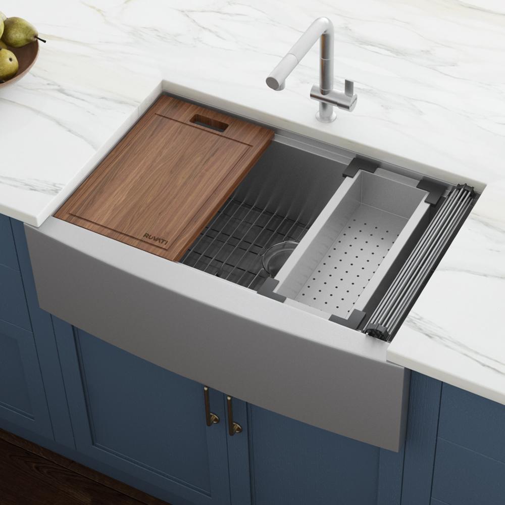 27 Inch Apron Front Workstation Farmhouse Kitchen Sink 16 Gauge Stainless Steel Single Bowl Ruvati Usa