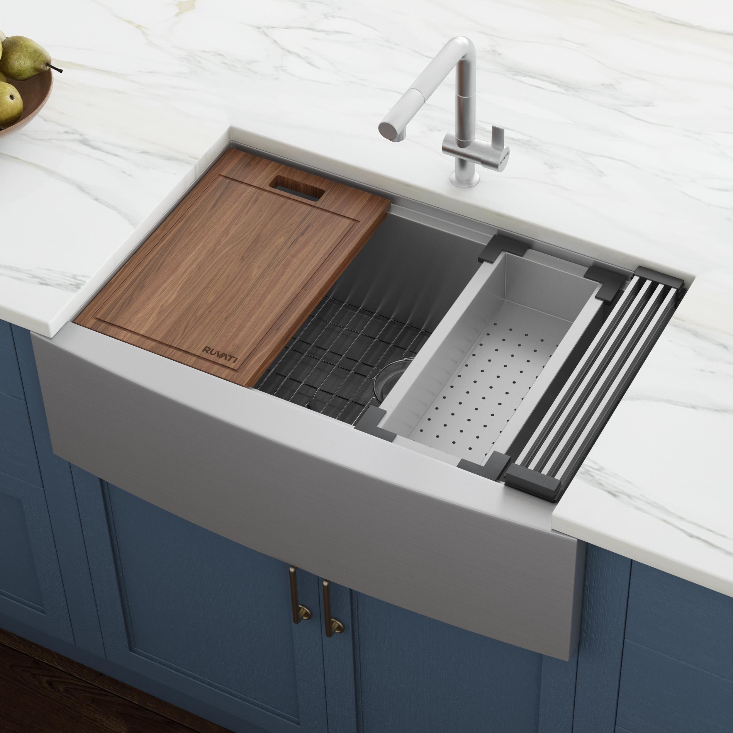 36 Inch Apron Front Workstation Farmhouse Kitchen Sink 16 Gauge Stainless Steel Single Bowl Ruvati Usa