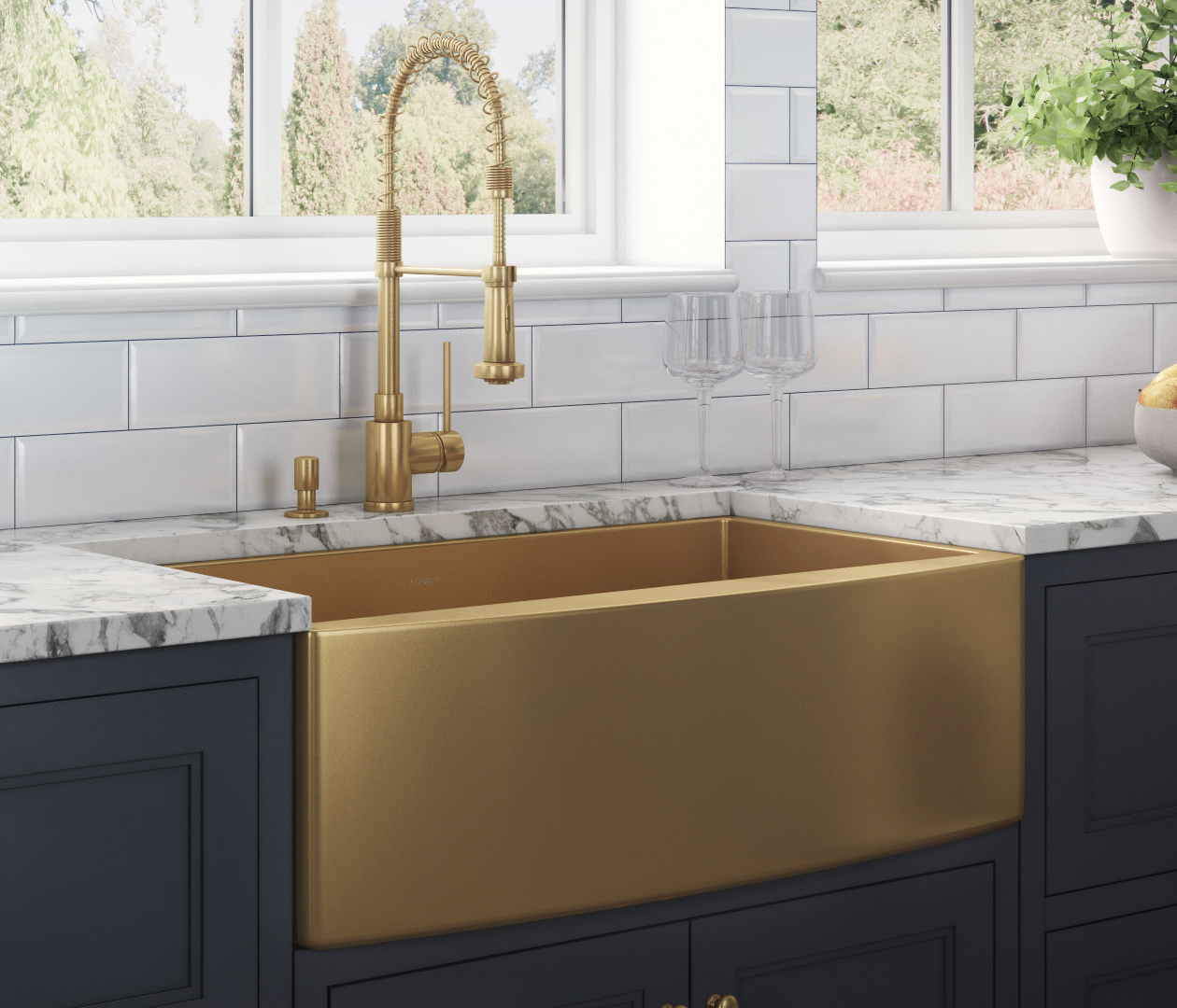 36 Inch Apron Front Farmhouse Kitchen Sink Brass Tone Matte Gold Stainless Steel Single Bowl Ruvati Usa