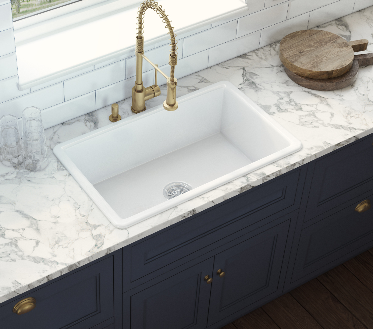 Ruvati 30 inch Fireclay Undermount / Drop in Topmount Kitchen Sink