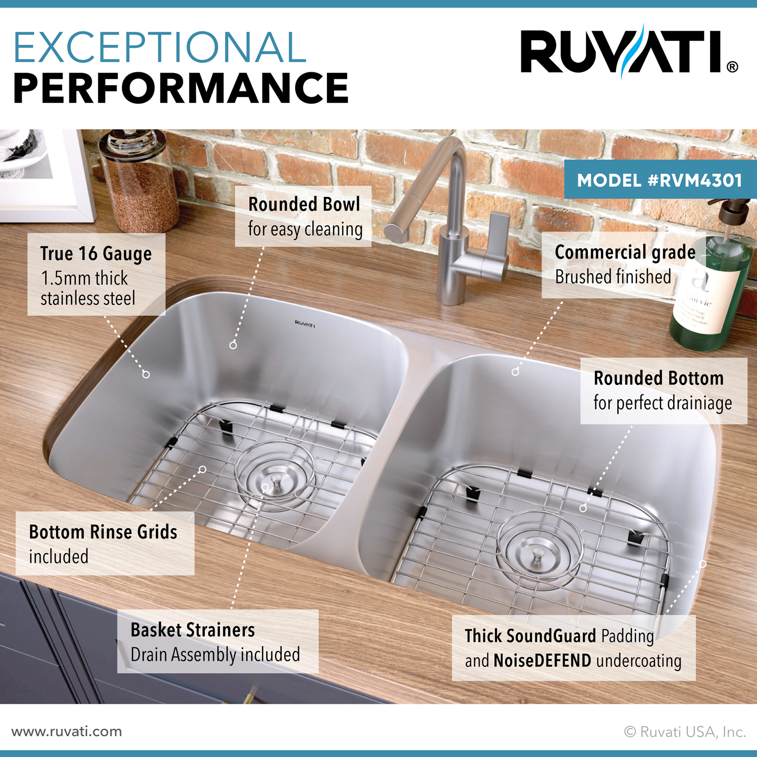 29 Inch Undermount 50 50 Double Bowl 16 Gauge Stainless Steel Kitchen Sink Ruvati Usa