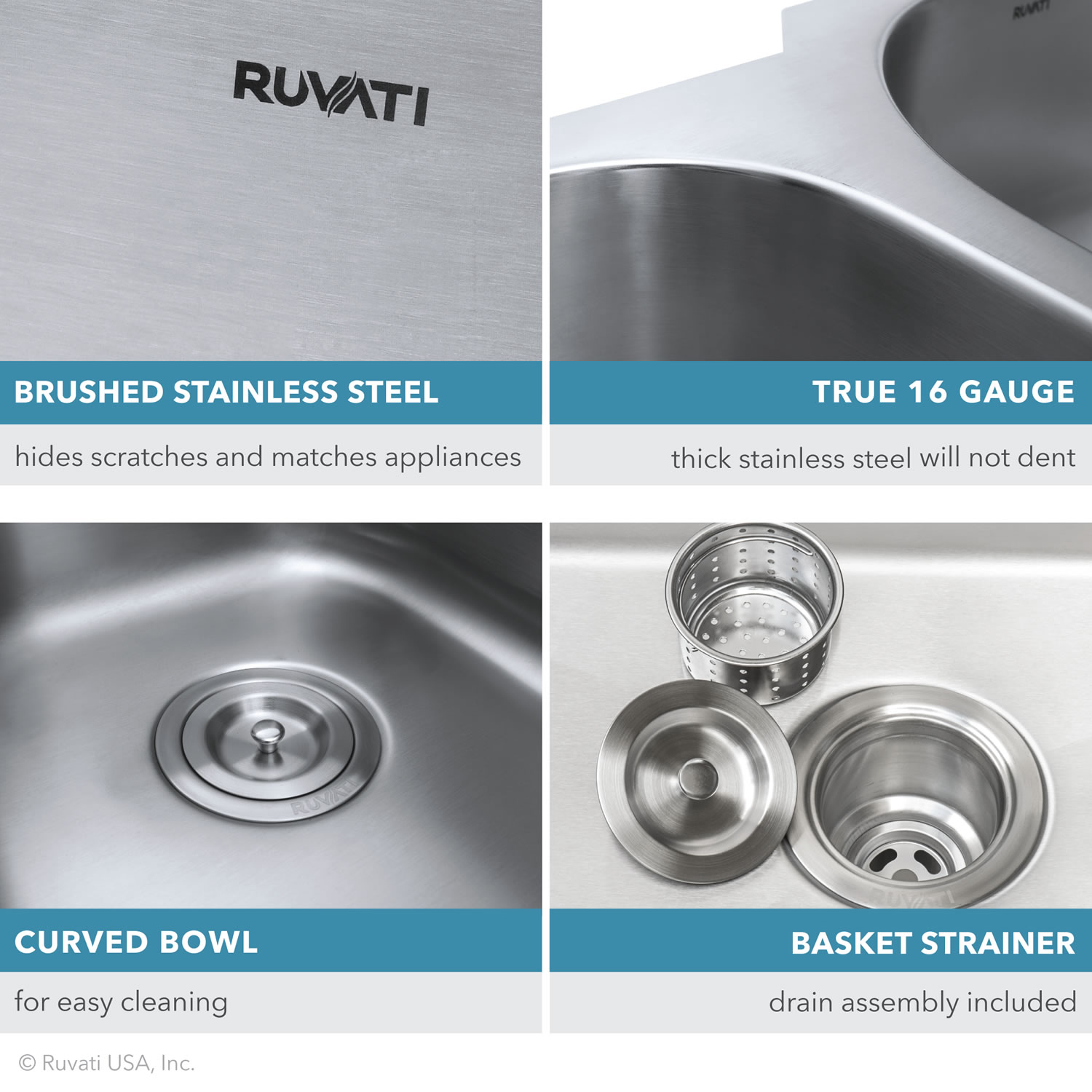 32 Inch Low Divide 50 50 Double Bowl Undermount 16 Gauge Stainless Steel Kitchen Sink Ruvati Usa