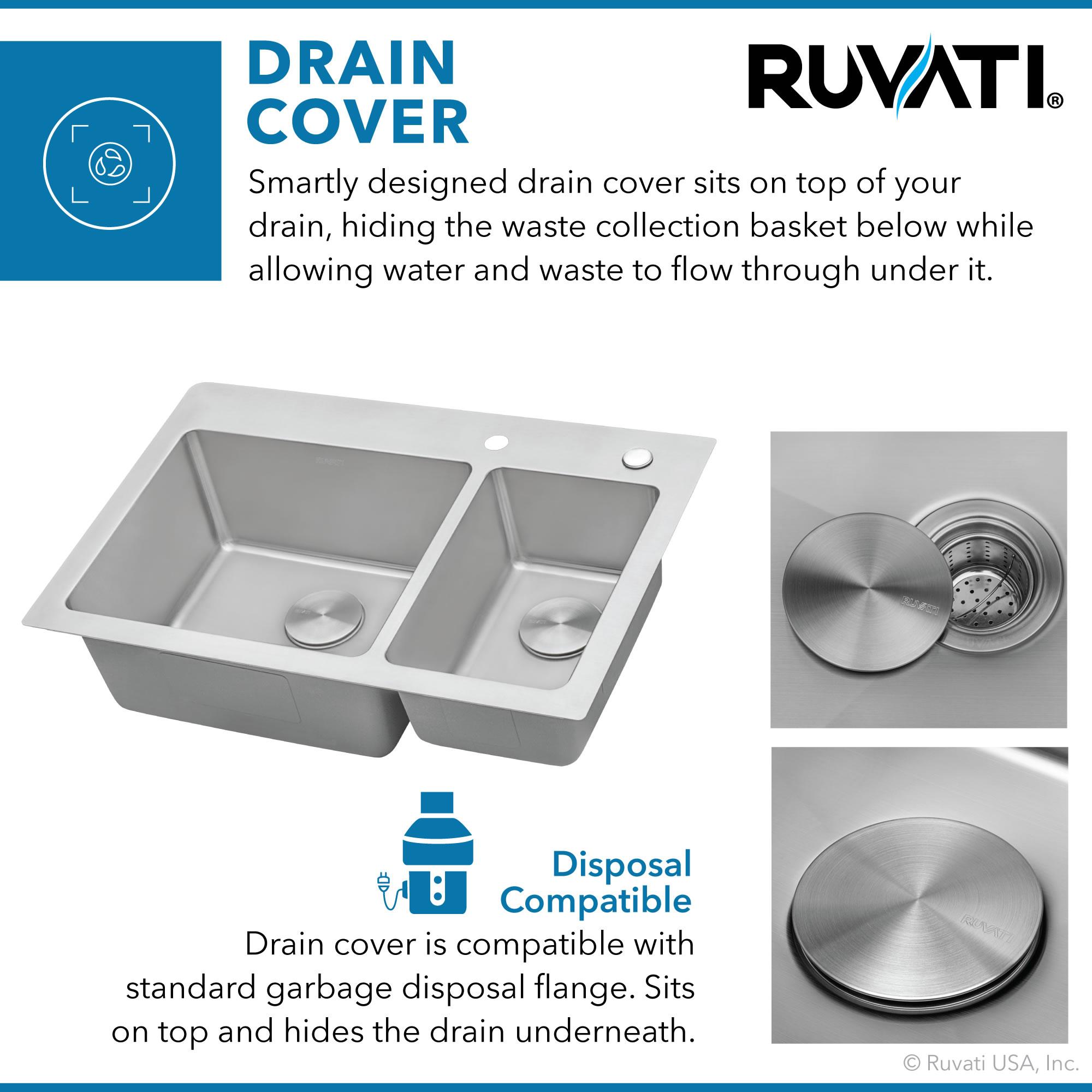 Picture of: Rvm5173 Ruvati 33 X 22 Inch Drop In Topmount Kitchen Sink 16 Gauge Stainless Steel 70 30 Double Bowl Kitchen Bath Fixtures Kitchen Fixtures