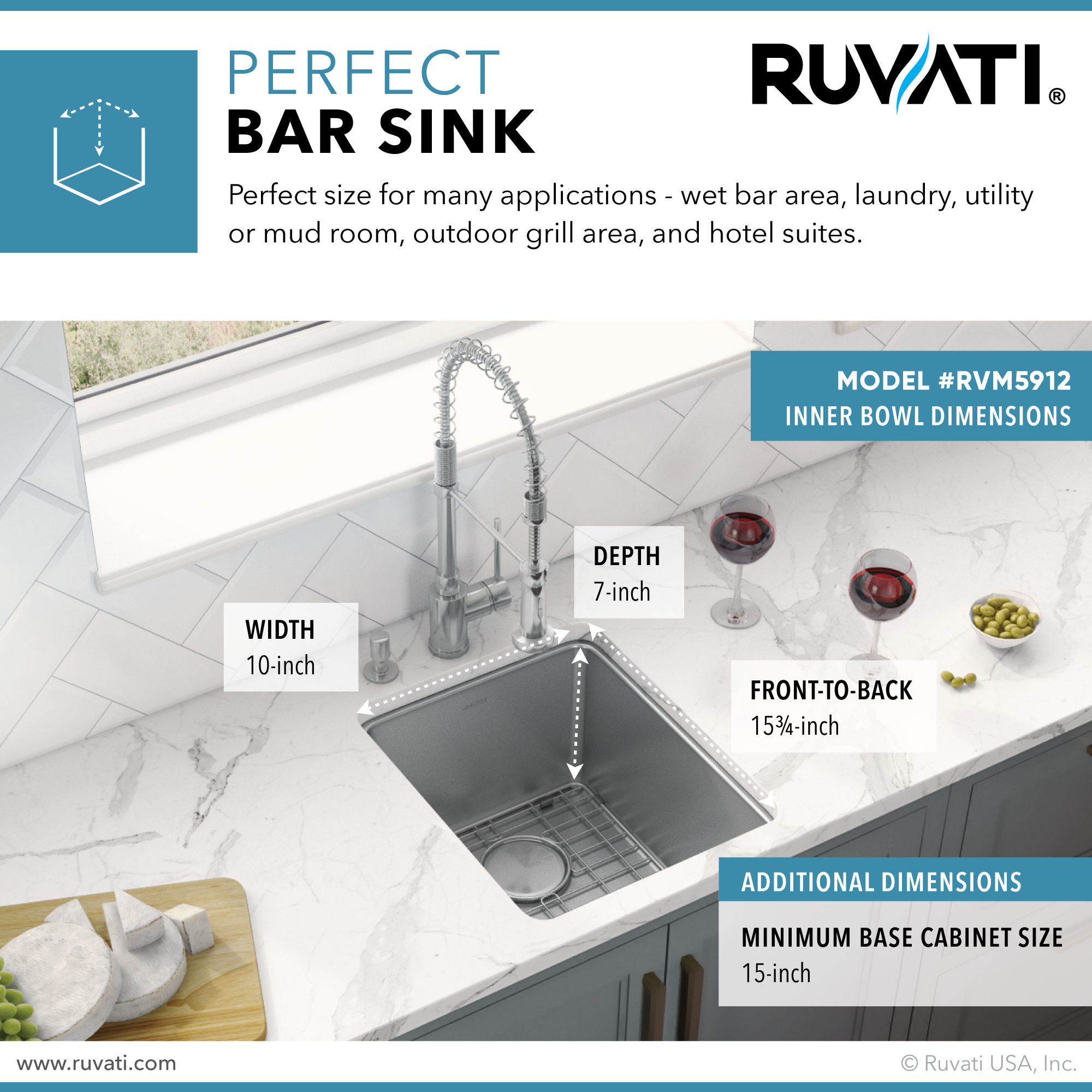 Picture of: 12 Inch Undermount Bar Prep Kitchen Sink 16 Gauge Stainless Steel Single Bowl Ruvati Usa